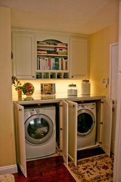 Cabinets to Hide Washer and Dryer Inspirational Marsh and Clark Laundry Mud Rooms Hidden Laundry Room Hidden Hidden Laundry Rooms, Laundry In Kitchen, Laundry Nook, Laundry Room Remodel, Laundry Room Cabinets, Laundry Closet, Laundry Room Organization, Laundry Room Design, Laundry In Bathroom