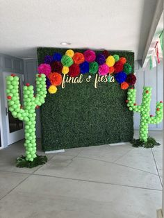 Bridal Shower photo Back drop Bridal shower, fiesta theme, hedge wall photo backdrop, cactus sculpture balloons<br> Mexican Birthday Parties, Mexican Fiesta Party, Fiesta Theme Party, Graduation Party Themes, Birthday Party Themes, Graduation Decorations, Mexican Theme Baby Shower, Mexican Bridal Showers, Mexican Party Decorations