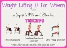 Triceps Exercise Examples  http://fitnessblondie.blogspot.com  Liz @ Fitness Blondie