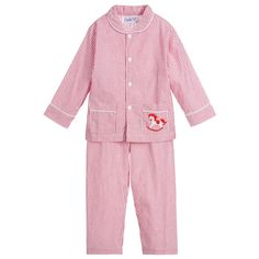 Couche Tot - Red Striped Cotton Pyjamas | Childrensalon