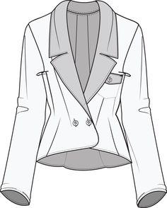 Flat Fashion Sketch Jacket