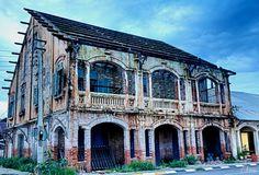 Savannakhets French colonial buildings, Laos.