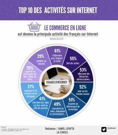 Top 10 des activités dea français sur internet. 2015