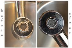 Soak faucets for an hour in vinegar to keep them nice and clean.