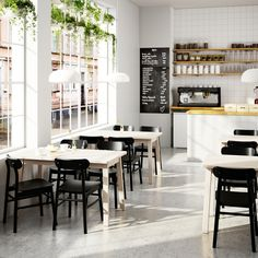 IKEA - NORRÅKER / RÖNNINGE, Table and 2 chairs, birch black, Durable and sturdy; meets the requirements on furniture for public use. Every table is unique, with varying grain pattern and natural color shifts that are part of the charm of wood. Cafe Interior Design, Cafe Design, Modern Interior, Coffee Cafe Interior, Logo Restaurant Design, Restaurant Restaurant, Rustic Restaurant, Restaurant Manager, Restaurant Banquette