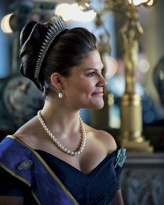 Crown princess Victoria of Sweden, wearing the Baden Fringe tiara.