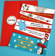Dr Seuss themed whimsical invitations by whimsicalboutique on Etsy, $42.00