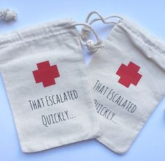 Bachelorette Hangover Kit Bags That Escalated by PaperPeonyDesigns