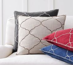 Tile Embroidered Pillow Cover #potterybarn