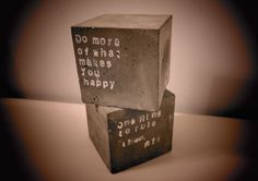 Beton concrete set of two big cube bookends paper by Hohou