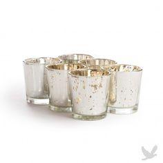 "2.5"" x 2.25"" Antique Silver Glass Votive Cup (BULK Set of 12 = $1.54/Holder)"