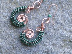Copper and dark green wire coiled earrings by sparklegem on Etsy, $30.00