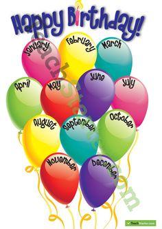 ideas happy birthday poster classroom for 2020 Birthday Display, Birthday Wall, Office Birthday, Birthday Board, Birthday Balloons, Birthday Ideas, Birthday Club, Cake Birthday, Birthday Gifts