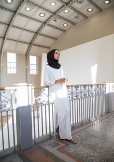 INAYAH | Shirt-Inspired Maxis perfect for Summer wear - Ivory Tailored #Maxi #Shirt + Black Maxi Georgette #Hijab - www.inayah.co