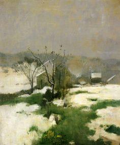 """An Early Winter,"" John Henry Twachtman, I Amerikaans Impressionisme eeuw Landscape Art, Landscape Paintings, Landscape Glass, Impressionist Landscape, Landscape Pictures, American Impressionism, Drawn Art, Illustration Art, Illustrations"