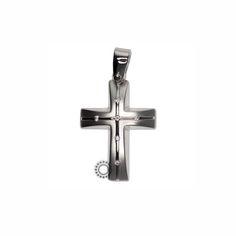 Ένας λιτός και μοντέρνος σταυρός γυναικείος ή βαπτιστικός από λευκόχρυσο Κ14 με διακριτικά ζιργκόν #γυναικειος #βαφτιση #ζιργκον #λευκοχρυσο #σταυρος
