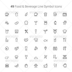 49 Food and Beverage Line Symbol Icons — Photoshop PSD #beef #ice cream • Available here → https://graphicriver.net/item/49-food-and-beverage-line-symbol-icons/6405911?ref=pxcr