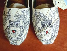 Custom Owl TOMS, w doodles, your size, your colors, shoes included