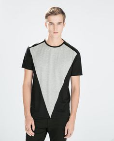 ZARA - MAN - T-SHIRT WITH SYNTHETIC LEATHER TRIANGLE