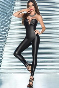 Wet Look Jumpsuit with Rear Leg Lacing