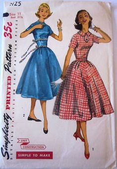 Simplicity 1725 Junior Misses 50s Flared Dress Sewing Pattern Bust 31 1/2