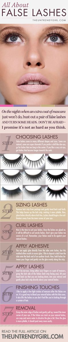 Lashes, how to false eye lash guide. Good I'm lash challenged. Now, maybe I'll try falsies.