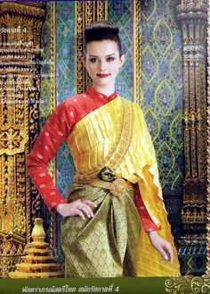 National Thai dress during the period of King Rama 4 Thai Traditional Dress, Traditional Wedding Dresses, Traditional Fashion, Traditional Outfits, Thailand History, Thai Wedding Dress, Thai Fashion, Thai Dress, Thai Style