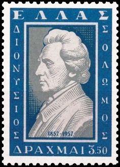 1957 - Δ. Σολωμός - Αναμνηστική έκδοση για τα 100 χρόνια από το θάνατο του Διονυσίου Σολωμού. National Anthem, Stamp Collecting, My Stamp, Postage Stamps, Liberty, Greece, Saints, Poster, Lyrics