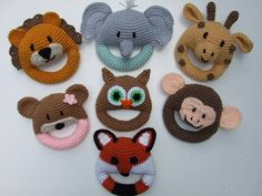 Animal Baby Toys ~ 7 different toys - make one, make several - safe for baby ~ intermediate level ~ finished measurements approx. x ~ great for showers, newborns or just a gift for baby ~ PURCHASED pattern - CROCHET Crochet Animals, Crochet Toys, Crochet Baby, Caron One Pound Yarn, Crochet Stitches Patterns, Baby Rattle, Yarn Colors, Stuffed Toys Patterns, Craft Fairs