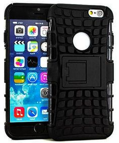 """Amazon.com: myLife Starless Black {Tire Kickstand Design} 2 Layer Hybrid Case for the NEW iPhone 6 (6G) 6th Generation Phone by Apple, 4.7"""" Screen Version (Single External Fitted Hard Protector Shell + Full Body Internal Silicone EASY-Grip Bumper Gel Protection): Cell Phones & Accessories"""