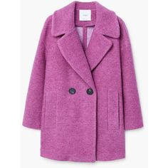 Unstructured Wool-Blend Coat (5.590 RUB) ❤ liked on Polyvore featuring outerwear, coats, mango coats, wool blend coat, oversized coats, fur-lined coats and purple coats