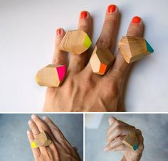 Etsy seller Woodncut's faceted, color-splashed olive wood rings are shaped and painted by hand in Florence, Italy. #etsyjewel