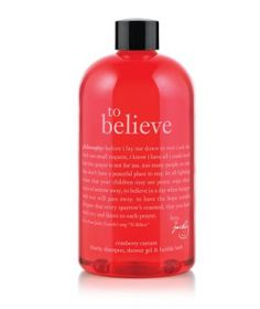 5 / 10  Philosophy's To Believe Cranberry Currant Shampoo, Shower Gel and Bubble Bath  Nothing says holidays like cranberry (and currant)--two sweet-smelling ingredients that are packed into this convenient three-in-one shower gel.    Charitable Contribution Factor: Philosophy has partnered with WhyHunger to donate 100% of the net proceeds from this product to support grassroots solutions for hunger. The company also has similar products that benefit the Women's Cancer Research Fund, the Rainfor