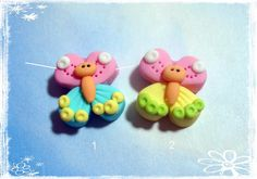 Butterfly Polymer Clay Charm Bead Scrapbooking by RainbowDayHappy Polymer Clay Magnet, Clay Magnets, Polymer Clay Charms, Handmade Polymer Clay, Polymer Clay Earrings, Clay Keychain, Biscuit, Small Figurines, Clay Jewelry