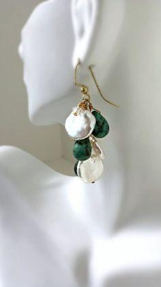 Turquoise Keshi Pearl Earrings by Tootsiejos on Etsy, $40.00