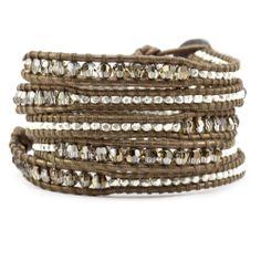 Bronze Shade and Nugget Wrap Bracelet on Kansa Leather - Chan Luu