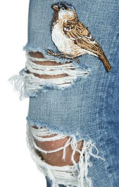 mens jeans tapered -- Click Visit link above to see Embellished Jeans, Embroidered Jeans, Mode Jeans, Painted Jeans, Diy Clothes, Wearable Art, Diy Fashion, Passion For Fashion, Hand Embroidery