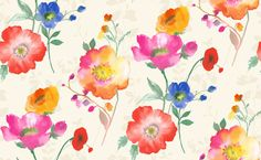 Delicia (M0702) - Vymura Wallpapers - A delicious blend of vibrant multi-colours in a stylish watercolour floral. Showing in a refreshing meadow red shade - more colours are available. Please request a sample for true colour match.