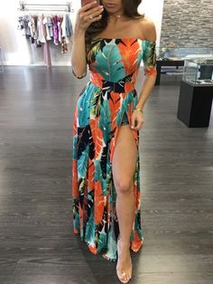 High Slit Off Shoulder Print Maxi Romper Dress Dinner Outfits, Dress Outfits, Fashion Dresses, Cute Outfits, Woman Outfits, Night Outfits, Skort Dress, Maxi Romper, Cute Dresses