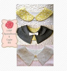 Womens Peter Pan Collar PDF Patterns 3 Beautiful Styles - Round and Square AND Caplet. $12.00, via Etsy.