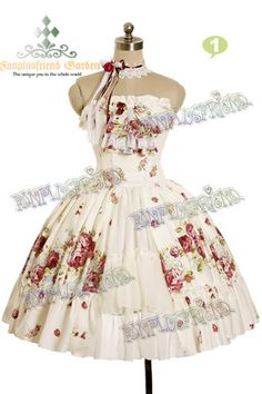 """Pastel Bouquet"" Classical Lolita: Spiral Steel Boned Corsage Dress & Choker Set*2color Instant Shipping"