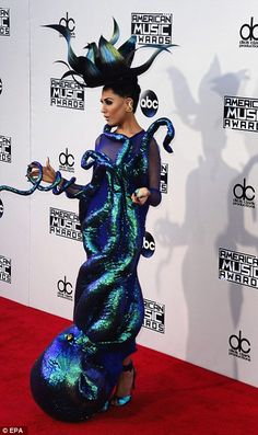 Under the sea: Singer Z Lala made sure to stand out in her shimmery Octopus dress