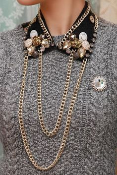 Front Row Fashion Blog 2016 32 Collar Clips, Collar Chain, Collar Necklace, Fashion Check, Fashion Details, Diy Fashion, Fashion Jewelry, Jewelry Necklaces, Diy Jewelry