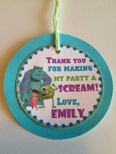 Monsters Inc Custom Birthday Party Thank You Gift Tags