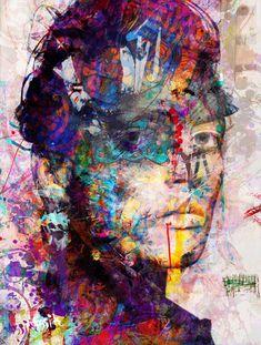 Yossi kotler art-inassouvissement, portrait. giclée embellie