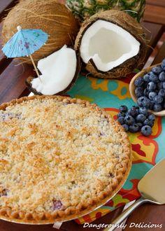Blueberry Pineapple Pina Colada Pie