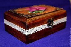 """Купить Шкатулочка """"Орхидея"""" - шкатулка, Декупаж, состаренный стиль, шкатулка для украшений, деревянная шкатулка"""