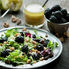 Blackberry and Walnut salad with Lime Ginger Vinaigrette