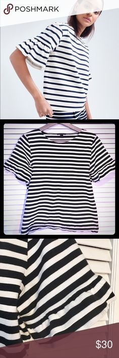 J. Crew Stripe Bell Sleeve Cotton Dress Top Lovely cotton striped J Crew Blouse with double layer bell sleeves. Fits true to size, gently worn - still in very good condition. Stripes are a bit different from model's. Adorable with a sparkly skirt for a holiday party. J. Crew Tops Blouses