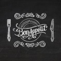 bon appetit Art Print by lunol Chalkboard Art Quotes, Blackboard Art, Chalkboard Wallpaper, Art Restaurant, Kitchen Logo, Gallery Wall Frames, Decoupage Vintage, Lettering Tutorial, Chalk Art